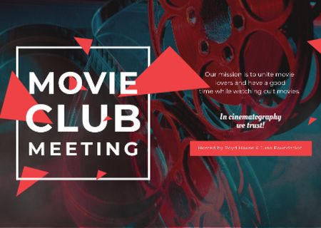 Plantilla de diseño de Movie Club Meeting Vintage Projector Postcard