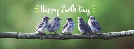 Earth Day Greeting with Birds on Branch Facebook cover Tasarım Şablonu