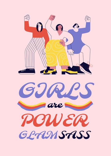 Girl Power Inspiration with Women on Riot Poster Tasarım Şablonu