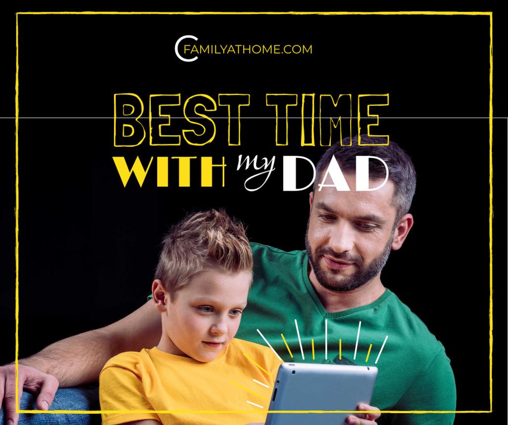 Ontwerpsjabloon van Facebook van Parenting Tips Father with Son Using Tablet