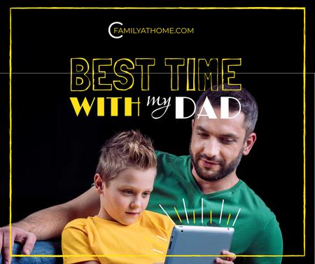 Plantilla de diseño de Parenting Tips Father with Son Using Tablet Facebook