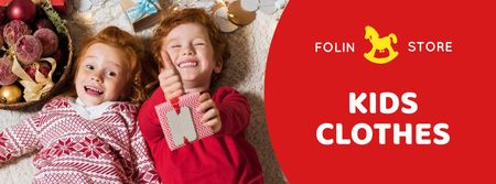 Christmas Offer Kids in Red Sweaters Facebook cover Design Template
