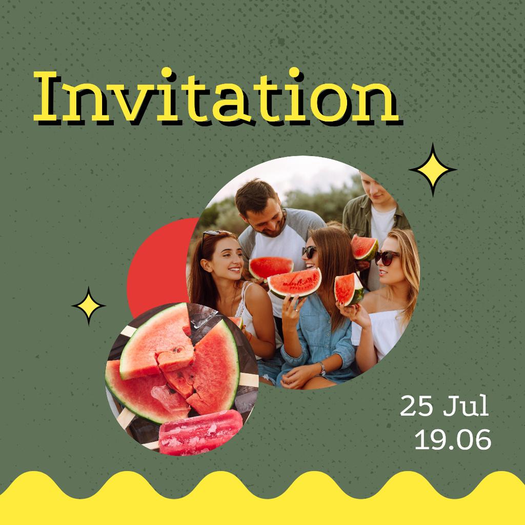 Party Invitation with Friends eating Watermelon Instagram Modelo de Design