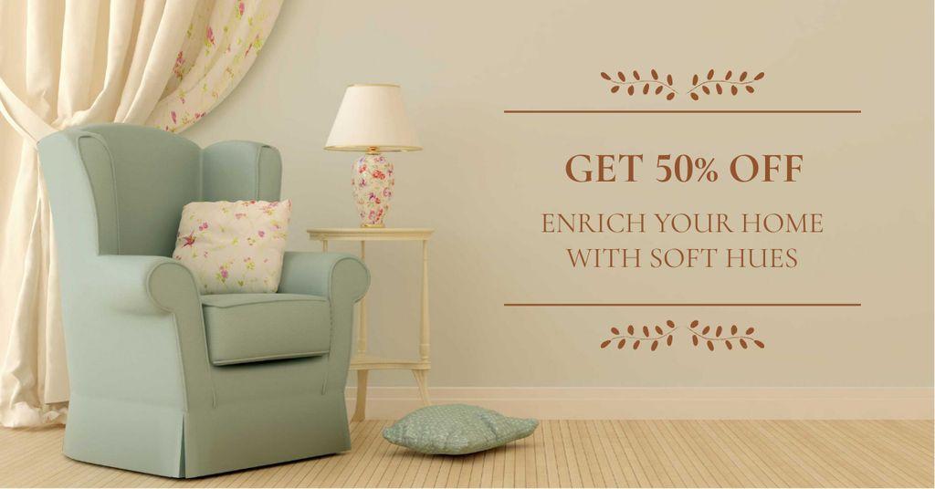 Furniture Sale with Armchair in cozy room — Maak een ontwerp