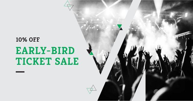 Tickets Sale with Crowd at Concert Facebook AD Modelo de Design
