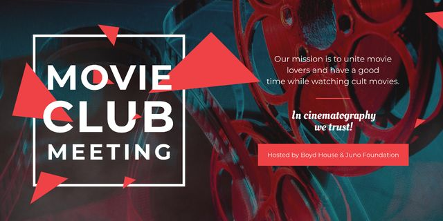 Ontwerpsjabloon van Twitter van Movie club meeting Announcement