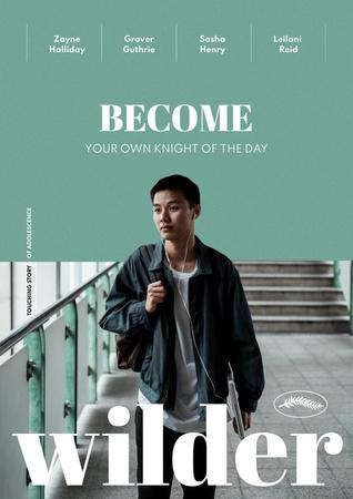 Modèle de visuel Movie Announcement with Young Guy - Poster