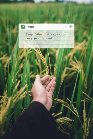 Modèle de visuel Vegan Lifestyle Concept with Green Summer Field - Pinterest