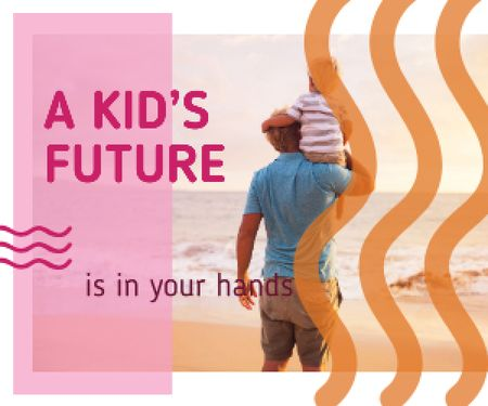 Template di design Childhood Quote Father and Son at the Beach Medium Rectangle