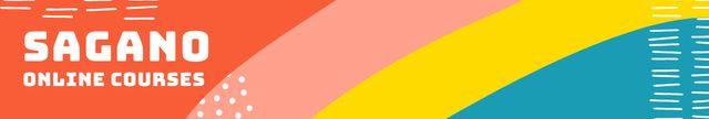 Online Courses promotion on colorful pattern LinkedIn Cover Modelo de Design
