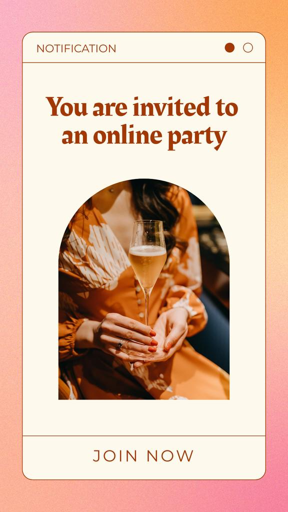 Online Party Invitation with Woman holding Champagne Instagram Story Design Template