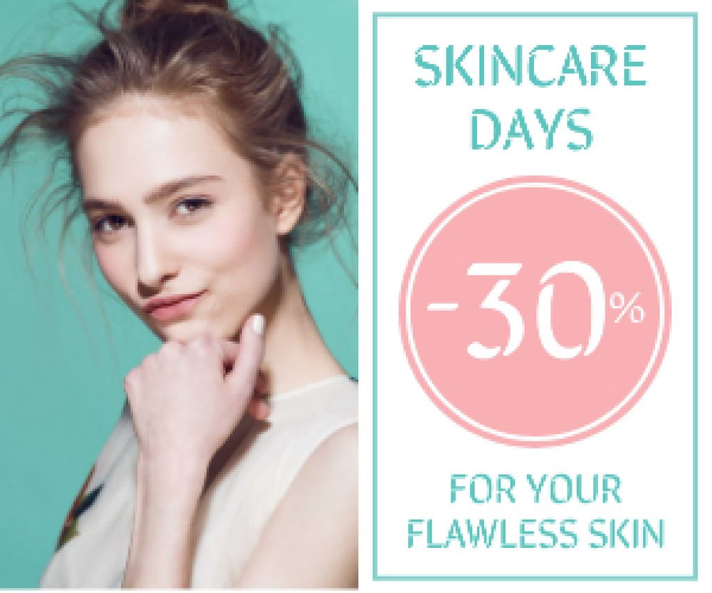 Skincare Products Sale Girl with Glowing Skin Medium Rectangle Design Template