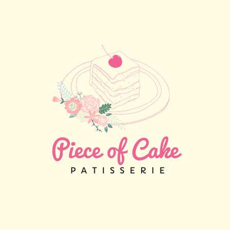 Ontwerpsjabloon van Logo van Bakery Ad with Yummy Piece of Cake