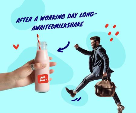 Ontwerpsjabloon van Facebook van Funny Illustration of Businessman walking to Milk Bottle