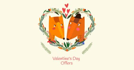 Szablon projektu Valentine's Day Offer with Cute Foxes Facebook AD