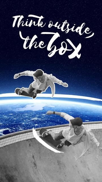 Teenager riding Skateboard in Space Instagram Story Modelo de Design