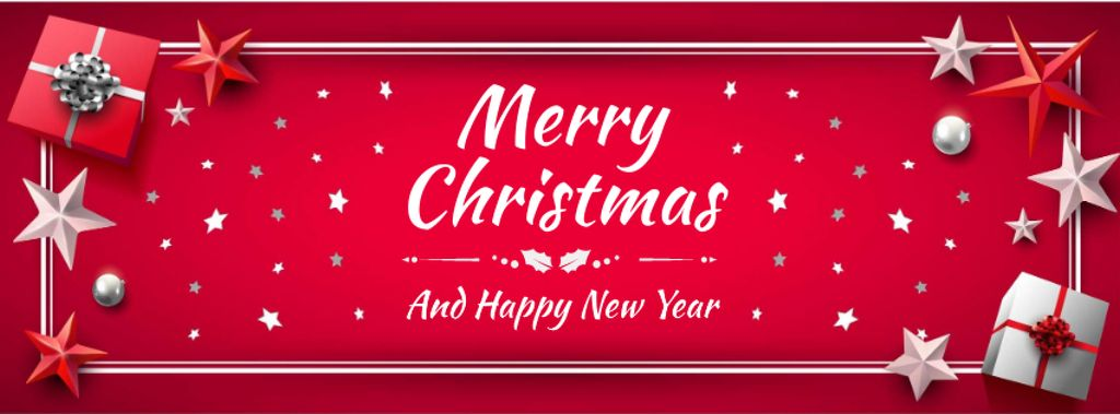 Merry Christmas Greeting in Red color — Crear un diseño