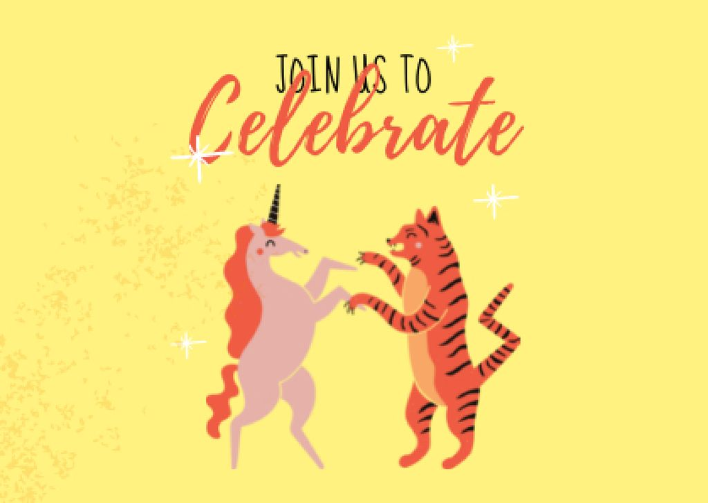 Funny Tiger and Unicorn dancing Cardデザインテンプレート