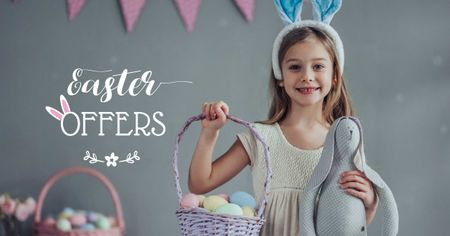 Easter Offer with Girl holding Eggs Basket Facebook ADデザインテンプレート
