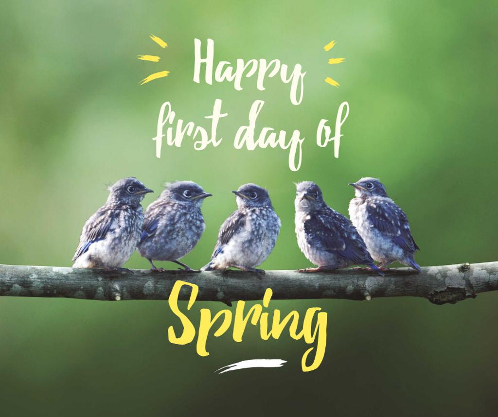 Spring Cute Birds on a Branch Facebook – шаблон для дизайну