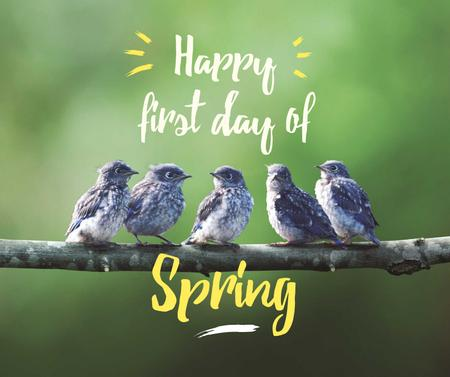 Spring Cute Birds on a Branch Facebook Tasarım Şablonu