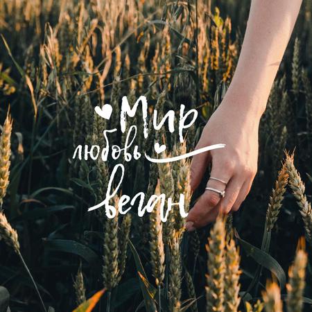 Vegan Lifestyle Concept with Wheat Field Instagram – шаблон для дизайна