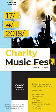 Charity Music Fest Invitation Crowd at Concert Graphic Modelo de Design