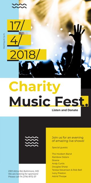 Charity Music Fest Invitation Crowd at Concert Graphic Modelo de Design
