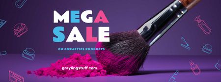 Modèle de visuel Makeup Sale with brush and powder - Facebook cover