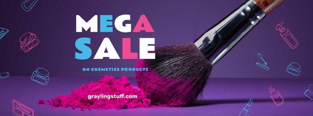 Plantilla de diseño de Makeup Sale with brush and powder Facebook cover