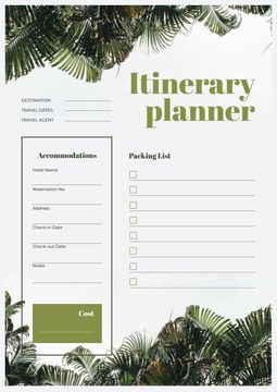 Itinerary Planner on jungle Leaves