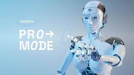 Ontwerpsjabloon van Youtube Thumbnail van New App Ad with Modern Human Robot