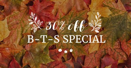 Back to School Offer with Autumn Leaves Facebook AD Modelo de Design