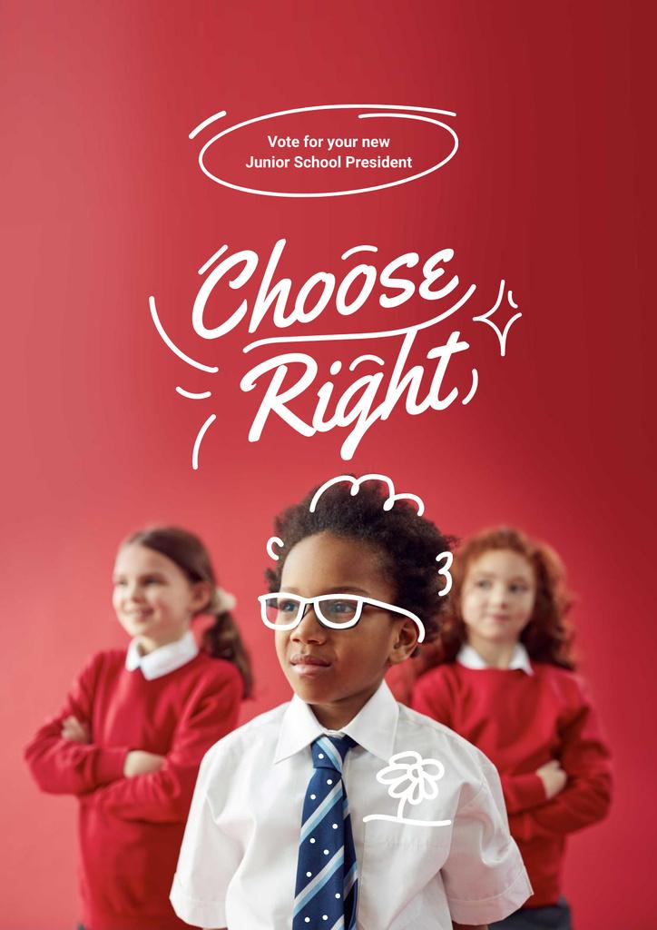 Junior School President Candidate Announcement Poster Modelo de Design