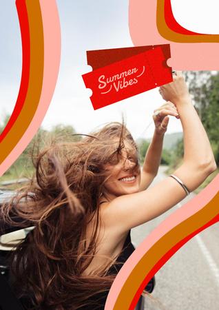Designvorlage Summer Inspiration with Happy Girl in Car für Poster