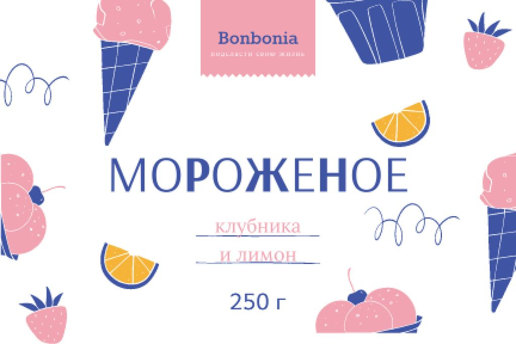 Ice Cream ad with cones and fruits in pink Label – шаблон для дизайна