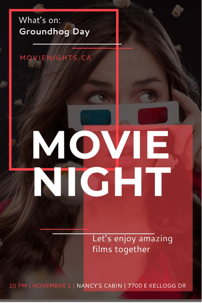 Movie Night Event Woman in 3d Glasses Tumblr Design Template