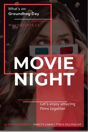 Movie Night Event Woman in 3d Glasses Tumblr – шаблон для дизайну