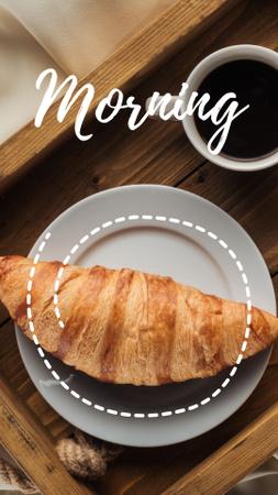 Ontwerpsjabloon van Instagram Story van Delicious Croissant on Plate with Coffee