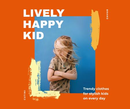 Plantilla de diseño de Trendy Kid's Clothes Offer with Stylish Little Girl Facebook