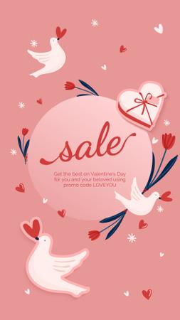 Plantilla de diseño de Valentine's Day sale with Birds and Hearts Instagram Story