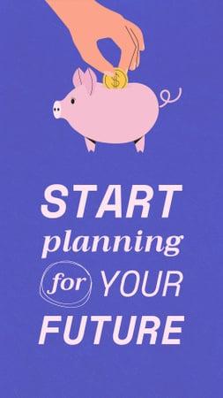 Designvorlage Saving Money with Piggy Bank für Instagram Story