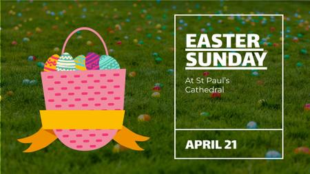 Plantilla de diseño de Easter Invitation Basket with Colored Eggs Full HD video