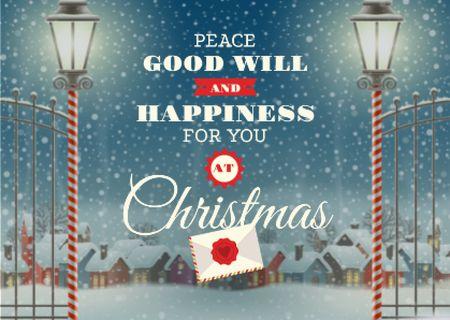 Ontwerpsjabloon van Postcard van Christmas Greeting Card with Snowy Night Village