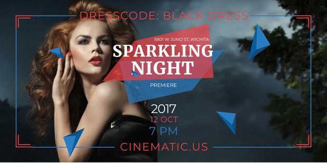Night Party Invitation with Woman in Black Dress Twitter Modelo de Design