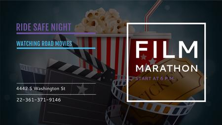 Movie Night Invitation with Cinema Attributes Youtube Modelo de Design