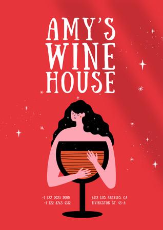 Ontwerpsjabloon van Poster van Funny Joke with Woman and Wineglass