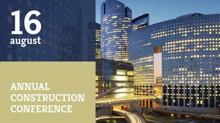 Plantilla de diseño de Construction Conference with Modern Buildings FB event cover