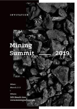 Black coal pieces for Mining summit Invitation Tasarım Şablonu