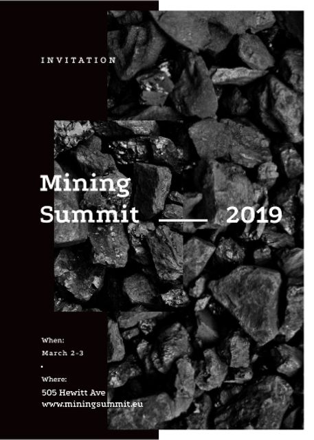 Plantilla de diseño de Black coal pieces for Mining summit Invitation